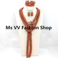 asiatischen indischen goldschmuck großhandel-Koralle rot grün African Bridal Frauen Schmuck Set mit Brosche Indian Party Halskette Ohrringe Armband Set Silberschmuck für Hochzeitskronen