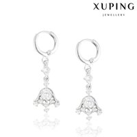 Wholesale Bell Flower Earring - Xuping Jewelry Zirconia Bell Charm Earrings Luxury Rhodium Plated Copper Elastic Earhoop Fashion for Christmas Or Gift DH-1710K0002
