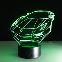 2017 Sports Car Auto 3D Optical Illusion Lamp Night Light DC 5V USB cobrando bateria AA Atacado Dropshipping Free Shipping Retail Box