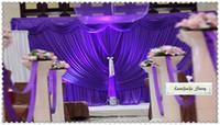 cortina púrpura de la boda al por mayor-Nuevo estilo de 10 pies Envío libre * 20 pies de hielo de seda de tela Todo el contexto púrpura con un bonito cortinas / festones / cortina de fondo de la boda / hotel