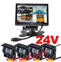 Wholesale Caravan Kits - 7 inch TFT LCD 4CH Video Quad Split Car Monitor + 4 x 18 IR LED reverse Camera 24V Rear view Kit For Truck Bus Caravan