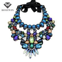 glasperle halskette china großhandel-Frauen Luxus Handgefertigte Kristall Große Halskette Multicolor Glasperle Kragen Mode Chokerhalsketten Aussage Schmuck Bijoux femme