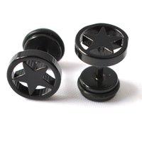 Wholesale Ear Rings Plugs - Men Jewelry 4pcs lots Accessories star Plug Ear Stud Fake Barbell Men Women Black Ring Piercing Earrings New Fashion Punk Earrings