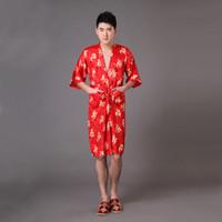 roupas de seda vermelha homens venda por atacado-Atacado-Hot New Red verão Robe De Seda Dos Homens Vestido Chinês Nacional Rayon Roupão de Banho Roupa Quimono Com Cinto Tamanho S M L XL XXL XXXL