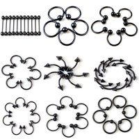Wholesale Ear Ring Black - 9 Styles Black Stainless Steel Eyebrow Lip Nose Septum Ear Ring Tongue Piercing Body Jewelry 100PCS Free Shipping