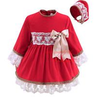 vestidos vermelhos para crianças venda por atacado-Pettigirl Red Boutique Infantil Menina Outono Vestido Com Headwear Arco Decoração Rendas De Mangas Compridas Roupas Bebê Na Altura Do Joelho-Lenhht Desgaste G-DMGD908-889