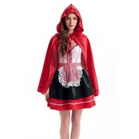 Wholesale Sexy Lingerie Halloween Party Cosplay - Female Cosplay Sexy Dresses Little Red Riding Hood Cosplay Costume Halloween Costumes Lingerie Princess Party Dress Fancy Suit