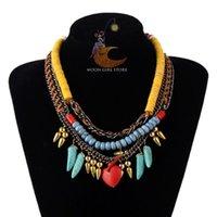 Wholesale Costume Jewelry Green Pendants - classic HOT New brand bohemia Costume Jewelry fashion women heart pendant multilayer chain Necklaces wholesale 3