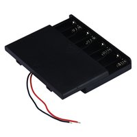 Wholesale Aa Connector - Wholesale Black Plastic 8 x AA Battery Holder Connector Storage Case Box ON OFF Switch With Lead Wire 5pcs lot