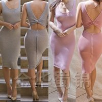 Wholesale Cheap Womens Party Clothes - New Sleeveless Zipper dresses Pure Cotton Around Clothes Sexy Dress bodycon cheap casual party women womens clothing ladies clubwear 2016