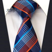corbata naranja al por mayor-Classic Mens Tie Shipping Stripes Orange Blue 100% Silk New Jacquard Woven Necktie Wedding