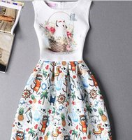 Wholesale Tutu Sellers Line - Best Seller Korea Fashion Clothes Painting Sleeveless Print Dress Big Size 8Y-14Y Cute Animals Dress 2016 New Style