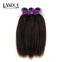 Wholesale Coarse Yaki - Brazilian Kinky Straight Human Hair Weave Bundles 7A Unprocessed Peruvian Malaysian Indian Italian Coarse Afro Yaki Straight Hair Extensions
