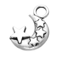 Wholesale Tibetan Moon Charm Beads - 200pcs New Tibetan Silver Alloy charms pendant Moon Star Spacer Beads Pendants DIY Handmade Jewelry free shipping