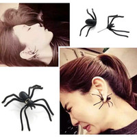 Wholesale Toy Earrings Wholesale - New Cosplay toys for kids Punk Halloween Black Spider Charm Ear Stud Earrings Evening Gift For Party Halloween Costume Novelty Toys