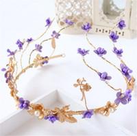 Wholesale Round Pearl Garland - Vintage Wedding Bridal Headpiece Crown Tiara Purple Flower Headband Crystal Rhinestone Hair Accessories Garland Headdress Fashion Hairband
