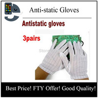 Wholesale Gloves Computer - Pair Anti-skid Gloves ESD PC Computer Working work with electrostatic wire anti-static gloves for repair