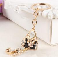 Wholesale High Heel Hanger - Spot creative ladies high heels butterfly bag crystal key ring pendant pendant car diamond purse beautifully