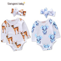 Wholesale Girls Elephant Romper - Baby INS Elephant deer Rompers Girl Christmas Cotton Long sleeve romper +flower Bows headbands 2pcs sets Children clothes 0-2years B001