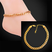 Wholesale Real Gold Bracelet Men - U7 Cuban Link Chain Anklet Summer Jewelry Foot Bracelet For Men Women 18K Real Gold Plated Simple Link Chain Barefoot Sandals