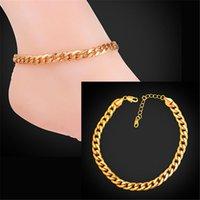 ingrosso gioielli oro reale per le donne-U7 cubano catena a maglie cavigliera estate gioielli braccialetto del piede per uomini / donne 18 k oro reale / platino placcato semplice catena a maglie sandali a piedi nudi