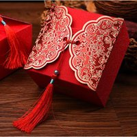 caixas de bolo de casamento chinês venda por atacado-Frete grátis 9 * 9 * 5.7 cm tamanho grande chinês vermelho favor do bolo de casamento caixas com borlas caixa de presente de embalagem de doces 50 pcs