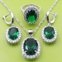 Wholesale Tungsten Ceramic Necklace - Emerald Topaz White Zircon Jewelry Sets 925 Silver Earrings Pendant Necklace Rings Size 6 7 8 9 For Women Free Jewelry Box