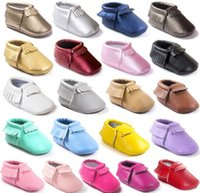 Wholesale Top Baby Prewalker - 19 colors Newest styles baby Shoes Moccasins Soft Shoe freshly-picked Tassel Toddler Prewalker Baby Soft Tassel Moccasins Top quality