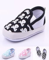 Wholesale Toddler Doll Shoes - toddler shoes Baby Shoes Printed Skulls Soft Sole Toddler Slip-on Baby Doll Infant Baby PU Leather First Walker Shoes