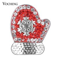 Wholesale Glove Snaps Wholesale - NOOSA Snap Charms Christmas Gift Glove Ginger Snaps 18mm 4 Colors Filled Crystal VOCHENG Vn-1605