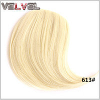 Wholesale Hair Bang Clip Real - Wholesale-New Real Hair Natural Clip in Hair Bangs Front Neat Bang Fringe Hairpiece Straight Hair Extensions Women Hair Clips VELVEL