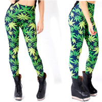 Wholesale Galaxy Girls Pant - PrettyBaby New Fashion Girl Women Green Leaf leggings Printed leggings pants galaxy legging women milk leggings digital free shipping