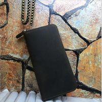 Wholesale Dress Folder - New fashion men brand designer leather zipper wallet long wallet luxury Cowhide leather clip folder men top quality Money Purse