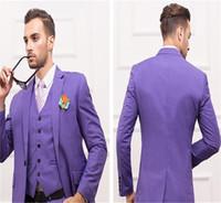 chaleco de boda tamaño estándar al por mayor-Esmoquin del novio Royal Blue Slim Mens Suits Caballero de alta calidad Traje de tres piezas Ropa formal por encargo Hermoso traje del padrino de boda