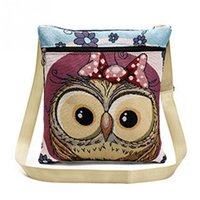 Wholesale Owl Bags Crochet - Women Cute Owl Printed linen Bag Crossbody Shoulder Bags Casual Girls Lovely Embroidery Owl Design Messenger Bag
