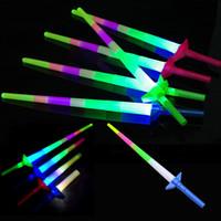 parlak kılıçlar toptan satış-Teleskopik LED Glow Sopa Flaş Işığı Oyuncak Floresan Kılıç Konseri Noel Karnaval Oyuncaklar LED Işık Sopa Aydınlık Sopalarla 4 bölüm
