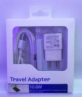 Wholesale Wholesale Iphone Travel Kits - Wall Charger Adapter 5V 2A Home Travel Adapter + 1M Micro USB Cable 2 in 1 Charger Kits For Samsung s7 s8 note 8