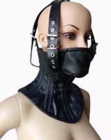 Wholesale Womens Sex Products - Adult Soft Leather Bondage SM Slave Boned Head Harness Neck Corset Collar Womens Fetish Restraint Posture Collar Sex Products
