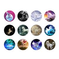 Wholesale One Direction Music - 48pcs lot unicorn glass snap button jewelry luxurious alloy bottom fit ginger snaps button necklace GS2585 one direction jewelry making