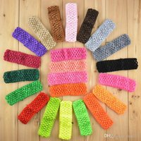 Wholesale Headbands Korea - South Korea silk knitted elastic headbands 1.5 inch crochet hair bands crochet headbands 38 color optional 0609