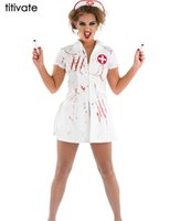 Nurse Costume Men White online - TITIVATE Promotion Value Set Women Sexy Costume Nurse Dress White with Red Scary Costume Cosplay Halloween Costume