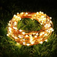 12v luces de cadena led fiesta al por mayor-Cobre Led String light 10M 100 LED interior al aire libre impermeable Fairy Light DC12V festival luz de la decoración de la fiesta de Navidad