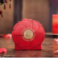 Wholesale european flower favor box - 100pcs European style red Wedding Supplies Ribbons Included Carton Candy Boxs Hollow out flower Laser Cut Wedding Candy Gift Box 195