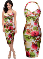 Wholesale Evening Pencil Dress - Free shipping Women's Hawaiian New Arrival Sale 50's Rockabilly Retro Floral Print Summer Party Evening Dresses 3201