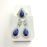 Blue Topaz Navy Blue Zircon Jewelry Set 925 Silver Earrings / Pendant / Necklace / Rings Size / 7/8/9 Para Mulher Free Jewelry Box