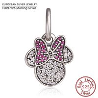 Wholesale Cartoon Minnie Mouse - Fit Brand Bracelets Minnie Icon Charm Pendants Original 925 Sterling Silver Pave Red Clear CZ Dangle Cartoon Mouse Charm Jewelry