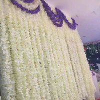 "Wholesale Vines For Decoration - 80"" 2 Meter Elegant Artificial Silk Flower Wisteria Vine Rattan For Wedding Centerpieces Decorations Bouquet Garland Home Ornament"
