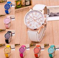 relojes grandes de ginebra al por mayor-Ginebra relojes Números romanos Reloj deportivo Faux cuero cuarzo Exquisita muñeca Para hombres Relojes automático de lujo big bang de mujeres D895