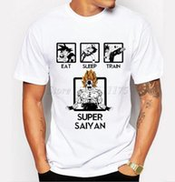 Wholesale Super Hipster Men - Funny Eat Sleep Train Super Saiyan Design Men's Fashion T shirt Hipster Anime Tops customize Printed Short Sleeve Tees