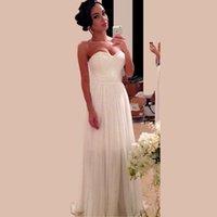 Wholesale Long Barato - Hot Sale 2017 Bridal Sheath Sweetheart Chiffon Wedding Dresses Long Floor Length Bridal Dresses Vestido De Noiva Barato